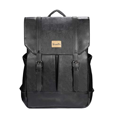 Zebella Women Vintage Leather Backpack College Bookbag Laptop Bag Black Faux Leather Backpack Purse Weekend Travel Daypack