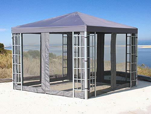 QUICK STAR Rank Pavillon Set 3x3m Metall Garten Partyzelt Anthrazit mit 4 Seitenteilen mit Moskitonetz