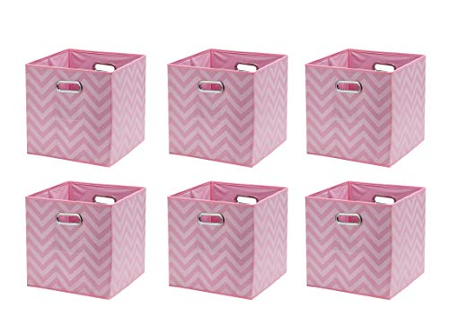 Ornavo Home Foldable Storage Bins Basket Cube Organizer With Dual Handles and Window Pocket - 6 Pack - 12 L x 12 W x 12 H - Chevron Pink
