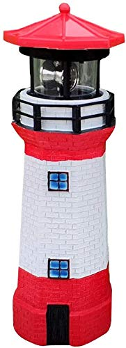 UFANME Lighthouse LED Solar Sun Powered Light Waterproof Rotating Spinning Bright Warm White Cool Colors for Garden Beach House Yard Outdoor Decor