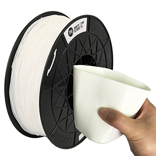 CCTREE Easy Print TPU Flexible Filament 1.75 mm 1 kg Spool, Upgrade Stronger Toughness Printing Accuracy +/- 0.03 mm For 3D Printer Creality Ender3v2, Anycubic Mega 3D Printer (White)