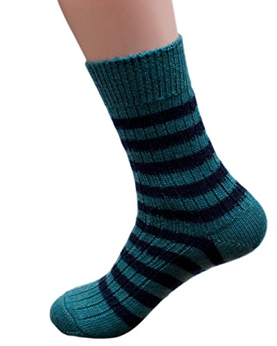 Hirsch Natur, Blockstreifen Socken mittelschwer, 100prozent Wolle (kbT) (2. UK 5-6 / EU 38-39, Blau - Teal / Navy)