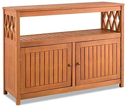 TisYourSeason Tropical Hard Wood Sideboard Outdoor Patio Buffet Storage Cabinet Console Patio Bar Cabinet Outdoor Living Furniture (Natural)