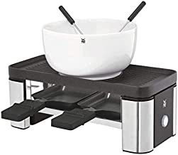 WMF Küchenminis Raclette 2 personen, grill, 3 pannetjes, schuiver en keramische kom voor chocoladefondue, 370 W, roestvrij...