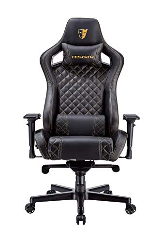 Tesoro Zone X Schwarz/Gold Gaming Stuhl F750 Gaming Chair Chefsessel Schreibtischstuhl mit PU Kunstleder und Lordosenstütze Lendenkissen Black/Gold