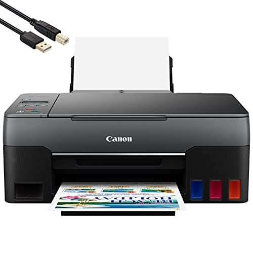 Canon PIXMA G Series MegaTank All-in-One Color Inkjet Printer- Print Copy Scan for Home Office- 10.8 ppm, 4800 x 1200 dpi, Borderless Printing, High-Volume Supertank, Hi-Speed USB - BROAGE Print Cable