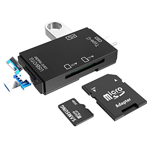 6-in-1 USB 3.0 Multi-Card Reader OTG Adapter for TF, SD, Micro SD, SDXC, SDHC, MMC, RS-MMC, Micro SDXC, Micro SDHC, UHS-I with USB, Type-C and Micro USB Ports (Black)