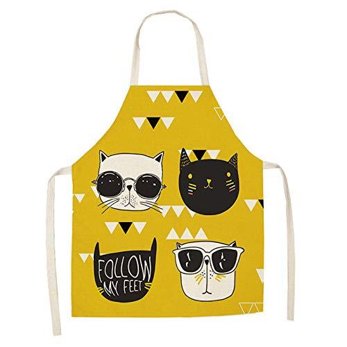 LIUKLAI Delantal de cocina de gato de dibujos animados lindo para mujer, babero de lino y algodón, delantal de limpieza para el hogar, delantal de cocina para el hogar, 68x55cm-2WQ-WQL0030-3_68x55cm