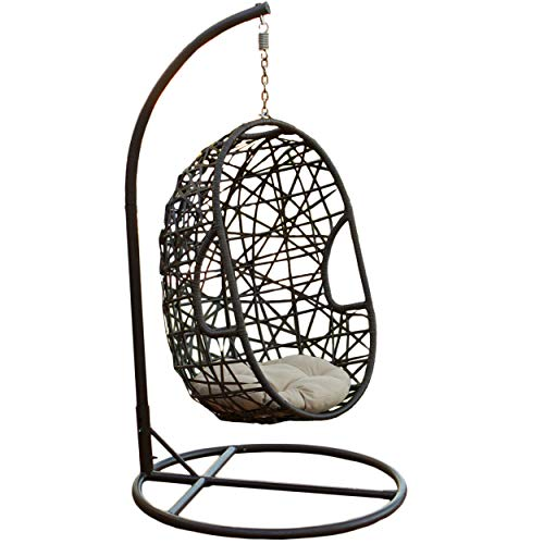 Christopher Knight Home 234966 Guerneville Patio Furniture Outdoor ~ Indoor Egg-Shaped Hanging Chair, Gray