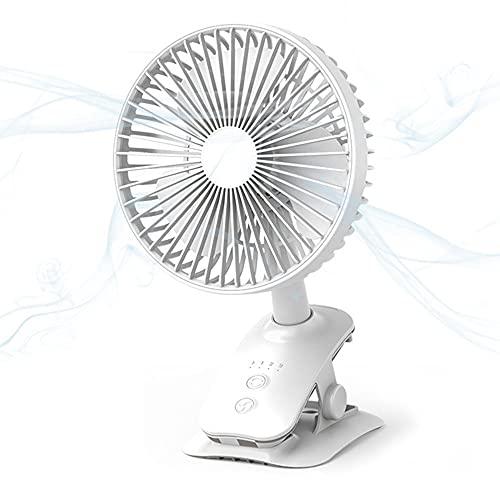 Ventilador Cabeza Móvil USB Clip, Velocidad Viento Ajustable 4 Velocidades, Iluminación Silenciosa, Vida Útil Batería, Silencio Sin Ruido, Adecuado para Interiores Exteriores,Blanco