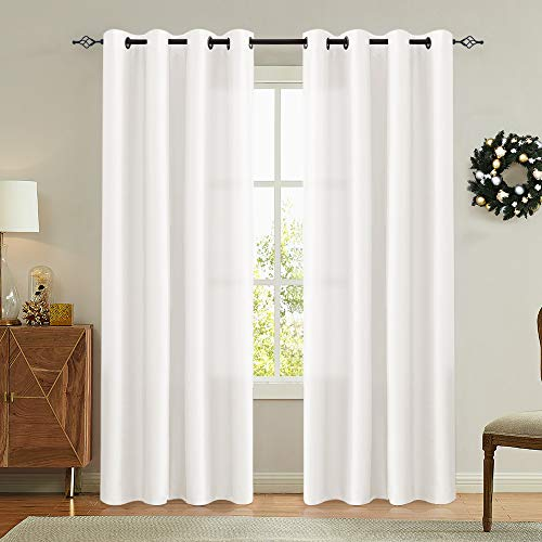 White Faux Silk Curtains for Bedroom Dupioni Light Reducing...