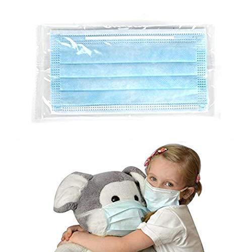 50 Piezas Niños Cara_máscara_Desechable - Envuelto en Plástico Individual 3 Capas_Protección Sólido...