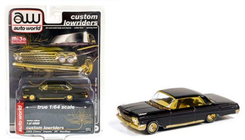 1962 Chevrolet Impala SS Hardtop Black and Gold Custom Lowriders Limited Edition to 4800 Pieces Worldwide 1/64 Diecast Model Car by Autoworld CP7656