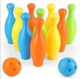Set de Bolos con 10 Bolos de plástico 2 Bolas de Gran tamaño Interior jardín al Aire Libre césped Partido Juego Juguete para niños 3 años