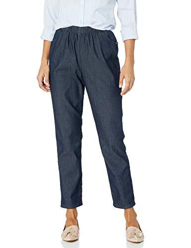 Chic Classic Collection Women's Stretch Elastic Waist Pull-On Pant, Dark Shade Denim, 16P