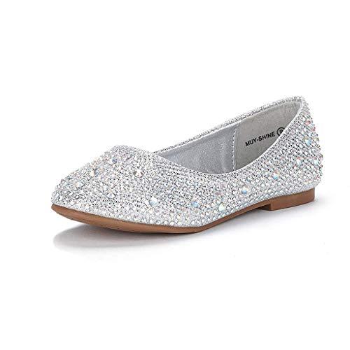 DREAM PAIRS Little Kid Muy-Shine Silver Glitter Girl's Mary Jane Ballerina Flat Shoes - 13 M US Little Kid