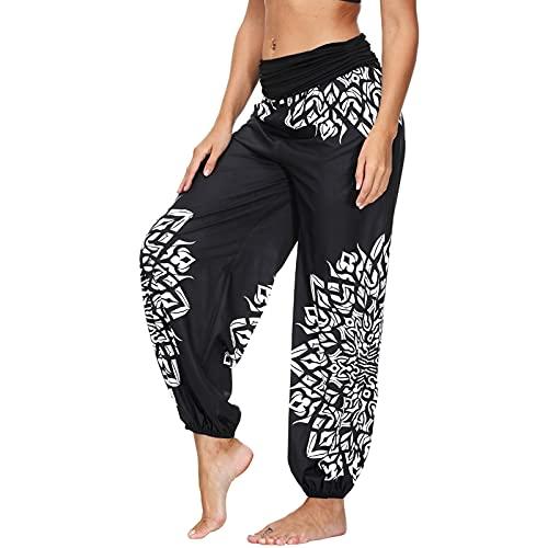 Nuofengkudu Mujeres Hippies Pantalones Largos Cintura Alta Boho Flores Impreso Baggy Indios Yoga Pants Verano Playa Fiesta Harem Pantalón(Negro I,M)