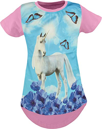 Einhorn Pegasus Kinder Mädchen 3D Druck Lang T-Shirt Bluse Kurzarm Tunika (Einhorn Rosa 128-134)