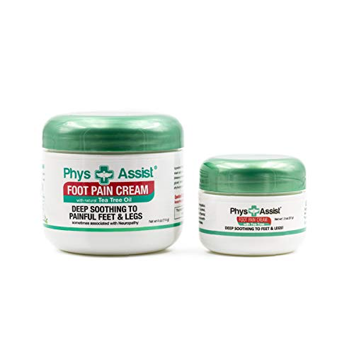 PhysAssist Foot Pain Cream (4 oz jar + 1.3 oz Travel Size) | Deep Soothing to Feet & Legs. Help Relief for Burning, Tingling, Pins & Needless, Stabbing and Cramping Sensations