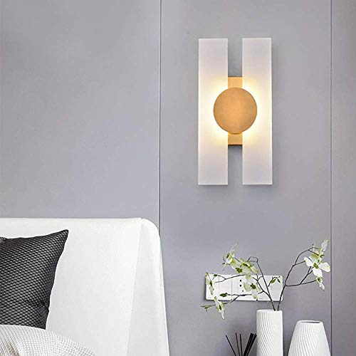 HUAQINEI Postmodern Personality Creative Unique Style Wall Lamp Acrylic Lampshade Plating Lamp Bedroom Living Room Wall Lamp 20 * 38cm