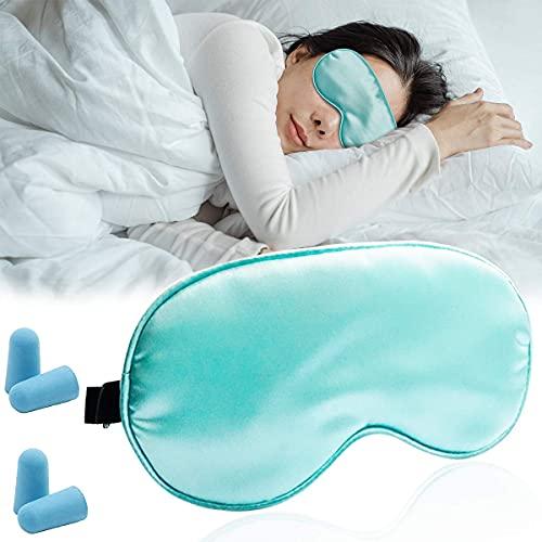 Set de máscara de ojos ajustable y sedoso, cómodas gafas y 2 pares de tapones para los oídos de sueño a prueba de ruido e insonorizables