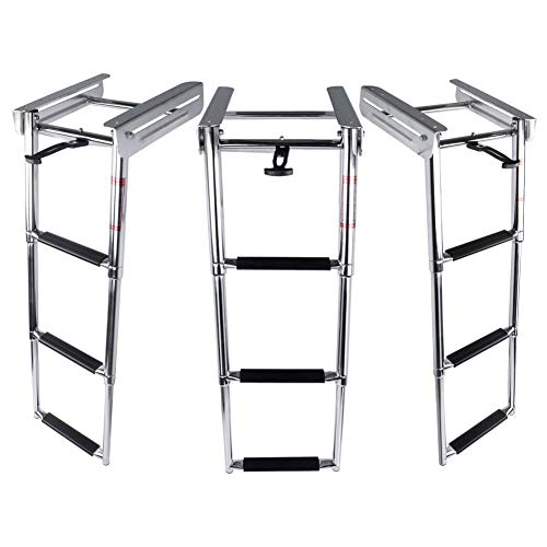 Marinebaby 3-Step Stainless Steel Telescoping Ladder, Slide Under Platform Mount Boarding Ladder with Retaining Strap