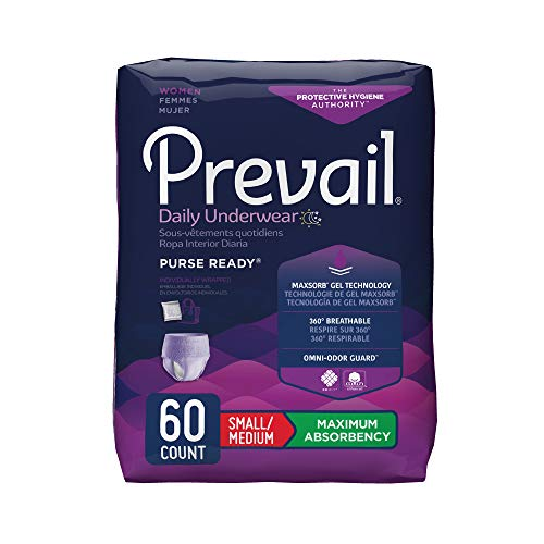 Prevail Maximum Absorbency Incontinence Underwear for Women, Small/Medium, 60 Count