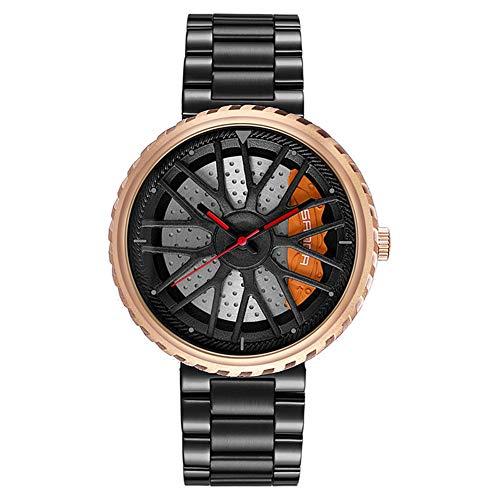 SYLL Relojes de Moda para Hombre, Reloj Deportivo de Cuarzo para Rueda de Coche, Reloj de Cuarzo con Correa de Acero Inoxidable, Reloj a Prueba de Agua,Black Rose Gold