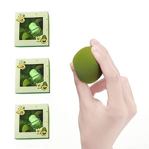 HLONGG Esponja de Maquillaje, 3 Piezas de Maquillaje de Esponja de Aguacate Verde, Impecable para la aplicación de Crema líquida y Polvo, preparándose para una Cita para Damas Maquillaje Huevo,A