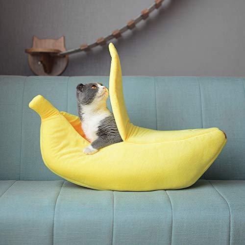 CARDH Banana Cat House Geschlossen Cute Cat Bed Hundebetten Winter Warm Pet Beheizte Matte Small Dog Puppy Kennel Haus Für Katzen Schlafsack 65X25X18Cm Gelb
