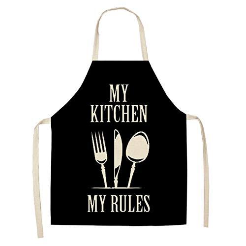 MAWA 1 Pieza Delantales de Cocina con Letras geométricas en Blanco y Negro Algodón Lino Unisex Cocina casera Panadería Baberos de Limpieza 66x47cm 47x38cm - 12,47x38cm