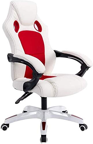 Reception Chairs Game Chair, Ergonomic Design Reclining Racing Chair Lifting Rotation High Back Gaming Chair Household Office Chair Rated Load Capacity: 300lbs Athletic Chair ( Color : White Red )