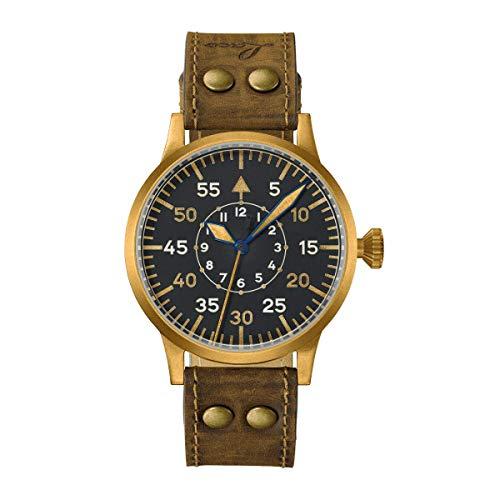 Laco Pilot Watch Original Friedrichshafen 862086 Bronze Body 45mm Automatic German Aero Dial Aviation Watch
