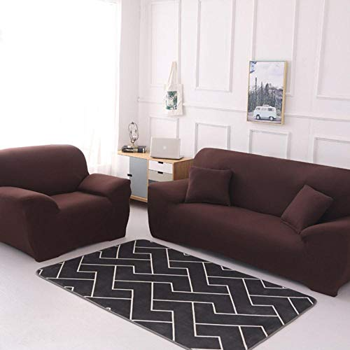 ANDD Solid Color Corner Sofa Cover Sofa Überwürfe Sofabezug Elastische Stretch Für L-Form Sofa Abdeckung .Brown.2-Seat 145-185Cm