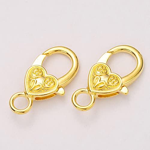 WEIYUE 10 unidades por lote de 26 x 15 mm, mosquetones con forma de corazón, llavero, pulsera y cadena para componentes de joyería (color oro)
