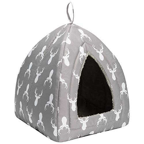 Hollypet Self-Warming 2 in 1 Foldable Comfortable Triangle Cat Bed Tent House, Gray Antlers