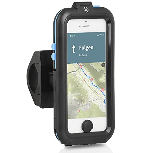 Wicked Chili Tour Case kompatibel mit iPhone SE (2016), 5S, 5 - Fahrrad Handy Halterung mit Lightning und 3,5mm EarPods Eingang, Displayschutz mit Touch-ID, IPx5 Wasserschutz
