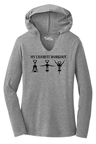Ladies Hoodie Shirt My Favorite Workout Funny Wine Lover Corkscrew Gym Tee Grey Frost XL
