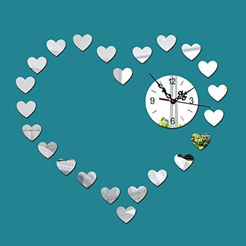 Persoonlijkheid Decoratie Creatieve Wandklok Mode Spiegel Klok Stille Liefde Wanneer De Klok Woonkamer Slaapkamer Slaapbank Achtergrond Muur Mirror Silver