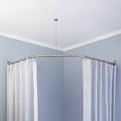 """Naiture Stainless Steel 18-1/2"""" X 26"""" X 18-1/2"""" Neo-Angle Shower Curtain Rod with Ceiling Support, Brushed Nickel Finish"""