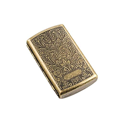 Auoeer Caja de Cigarrillo 12 Sticks, Caso Portable Simple Retro del Cigarrillo Creativo del Acero Inoxidable, es el for los Fumadores, Tamaño 9.0 * 5.5 * 1.9, de Cobre de la Vendimia, Anti-presión