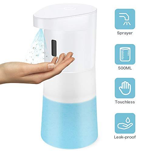 Rokurokuroku Seifenspender Automatisch 500ML Desinfektionsspender Automatischer Seifenspender mit Sensor Infrarot, Elektrischer Schaumseifenspender für Küche & Bad