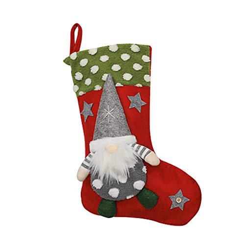 Topke Calza della Befana Decorative Doll Albero Sospensione Candy Bag del Fumetto di Natale, Grigio