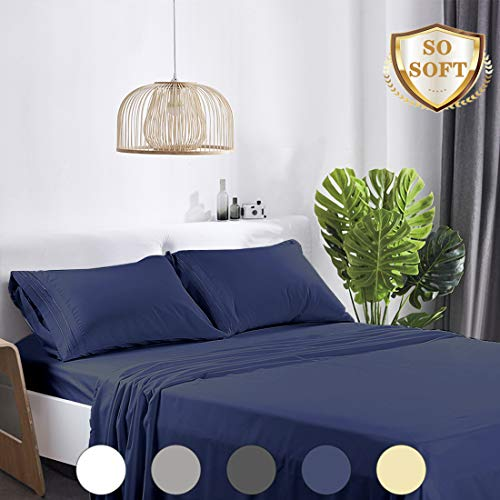 Abakan Queen Bed Sheet Set Extra Soft 1800 Thread Count Silky Smooth Microfiber Hotel Luxurious Premium Cooling Sheet Breathable, Wrinkle, Fade Resistant Deep Pocket - 4 Piece (Queen, Navy Blue)
