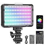 Neewer Luce LED RGB con Controllo APP, 360° Colore Pieno CRI95+ Dimmerabile 3200-5600K 9 Scene d'Illuminazione con Batteria & Caricatore, per DSLR Videocamere Illuminazione, SENZA Borsa di Trasporto