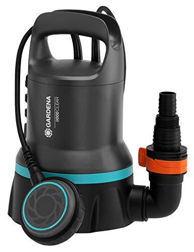 Bomba sum. aguas limpias 9000 GARDENA: bomba aguas limpias 9000l/h, interruptor flotación opción fun. continuo, aspiración plana hasta 2mm, sis. acoplamiento rápido, 300 W (09030-20)