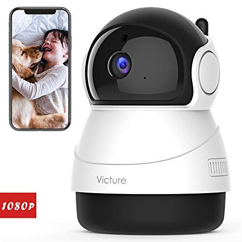 Victure FHD 1080P Telecamera di Sorveglianza WiFi, Videocamera Interna Wireless con Visione Notturna, Audio Bidirezionale