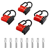 Micrl 4 Pcs 6-8 Gauge 50A Battery Quick Connect/Disconnect, Jumper Cable Plug Connector Kit for Recovery Winch, Powerpole, Towing Systems(Red)