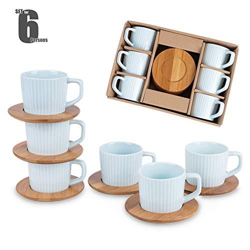 SOPRETY Kaffeetassen Set für 6 Personen, Espressotasse aus Keramik und Untertassen aus Bambus (12-TLG), für Tee Kaffee Espresso, 90 ml, spülmaschinenfest (Blau)