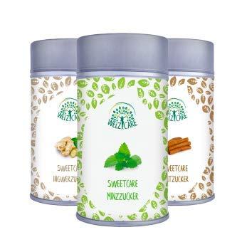 SweetCare Ingwer-, Zimt- und Mint- Zuckerersatz mit Erythritol und Stevia, die natürliche Alternative zu Zucker